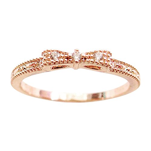Excelsia 14K Dainty and Delicate Mini Triple Cubic Zirconia CZ Crystal Bow Stackable Ring for Women - Rose Gold/White Gold Plated (Size 3-9)