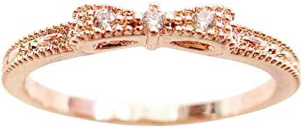 14K Dainty and Delicate Mini Triple Cubic Zirconia CZ Crystal Bow Stackable Ring for Women - Rose Gold / White Gold Plated (Size 3-9)