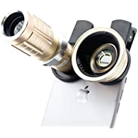 Xorastra Professional HD 12X Telephoto Telescopic Lens w/0.45 SLR Wide Angle Macro Camera Universal Clip-ons Lens Kit Military Grade Build for iPhone & Smartphones (Gld)