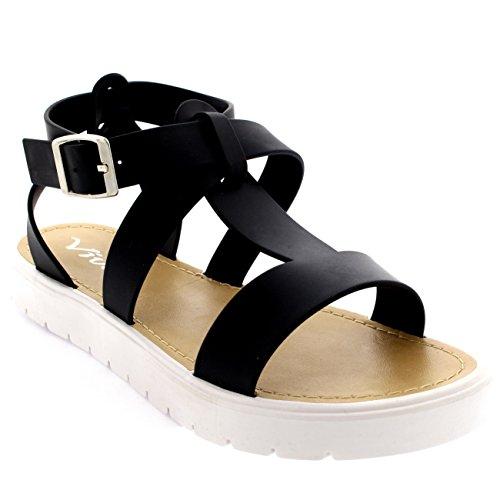 69896e0fe49950 Femmes Chaussures T-Strap Semelle A Crampons Bout Ouvert Gelée S..