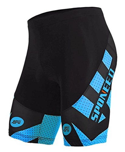 Sponeed Men's Cycling Pants Leggings Bicycling Shorts Riding Bike Bicycle Tights 4D Gel Padded Cyclewear Asian L/ US M Blue (Bike Shorts Leggings)