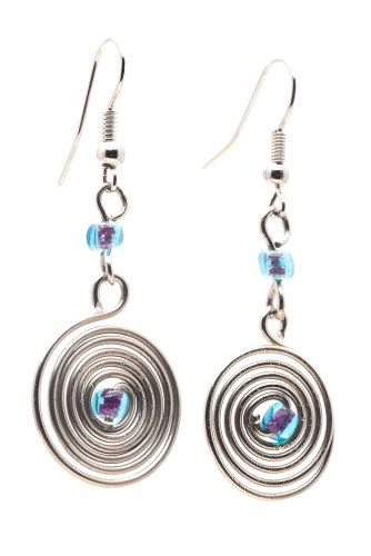 Bead Swirl Glass Earrings (Maisha Fair Trade Wire Swirl with Center Glass Bead Drop Earrings, Light Blue and Purple)