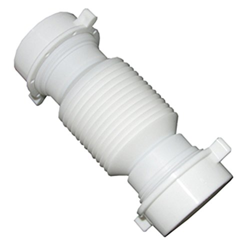 LASCO 03-4355 White Plastic Tubular 1-1/2-Inch Slip Joint Coupling Flexible and Extendable with Nuts and Washers (Coupling Joint Slip)