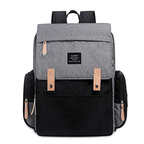Baby Diaper Backpack - Large Capacity Water-Resistant Nappy Bag with Insulated Pockets, Stroller Straps and Changing Pad, Travel Backpack&Outdoor Bag (Grey)
