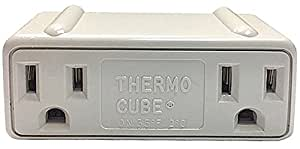 Farm Innovators TC-3 Cold Weather Thermo Cube Thermostatically Controlled Outlet - On at 35-Degrees/Off at 45-Degrees, White
