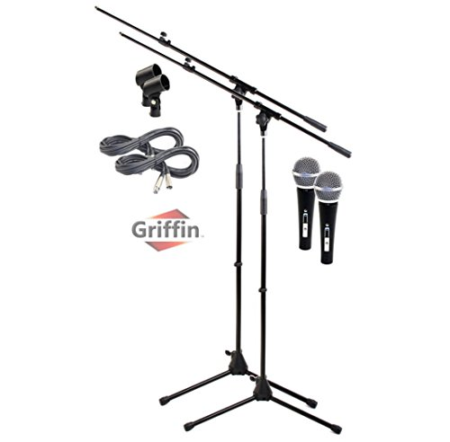 d with XLR Mic Cable, Cardioid Dynamic Microphone & Clip (Pack of 2) by Griffin|Telescoping Arm Holder|Tripod Mount|20 ft Pro Audio 3-Pin Cord Patch|Vocal Unidirectional Microphone ()