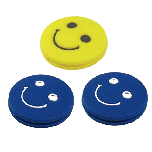 (Tennis Vibration Dampener - Smiley Face - 3 Pack - Choice of Colors (Blue - Blue - Yellow))