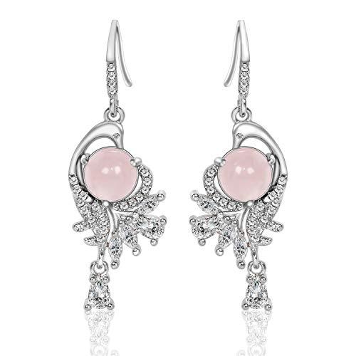 (CILILI ❤️Nirvana of Phoenix❤️ Dangle Drop Earrings with Swarovski Crystals Quartz Gemstones Jewelry Gift for Women (1-Silver (Rose Quartz)))