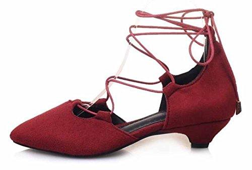 Showhow Dames Sexy Suede Puntige Lage Top Zelfbindende Lage Hiel Pumps Schoenen Rode Schoenen