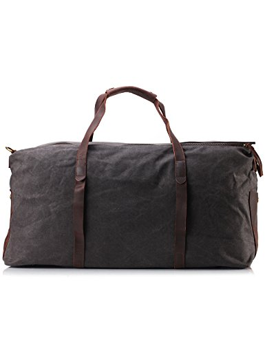 ZEKAR Canvas Leather Travel Weekender
