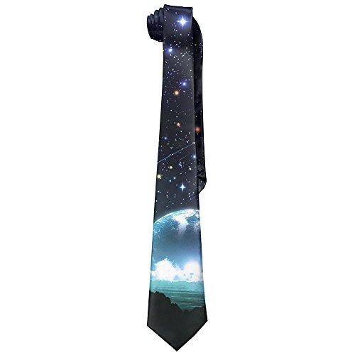 HenSLK Fantasy Stars Dream Sky Moon Men's Classic Polyester Solid Silk Tie Necktie