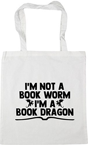 litres HippoWarehouse a worm Beach Tote book Bag Gym 10 White dragon Shopping im book I'm a not x38cm 42cm qnqrWpTxF