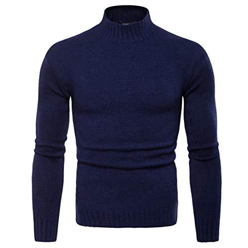 Blue Maglia Alto Da Lavorato Uomo Dark Con Collo A Pullover qzT6n