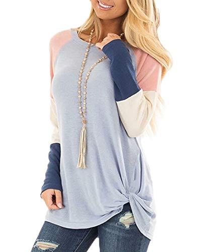 INWECH Women's Casual Cute Crew Neck Light Blue Tee Shirts Long Sleeve Color Block Tops Blouse (Light blue, - Tee Long Sleeve Block Color