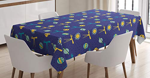 (Ambesonne Space Tablecloth, Astronomy Cartoon of Sun Planets and Telescope, Rectangular Table Cover for Dining Room Kitchen Decor, 60