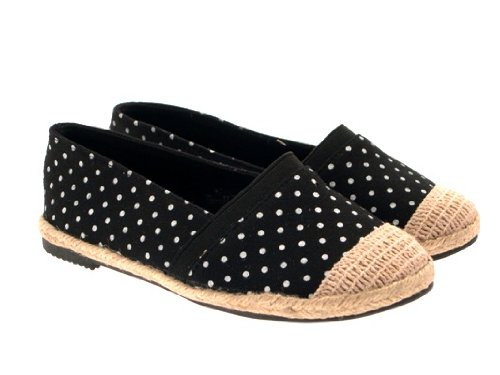 GIRLS KIDS CHILDRENS HESSIAN CANVAS BALLET PUMPS ESPADRILLES PLIMSOLLS TRAINERS SHOES POLKA DOT SIZES 10-2 Black Polka Dot BHs2u0KnV