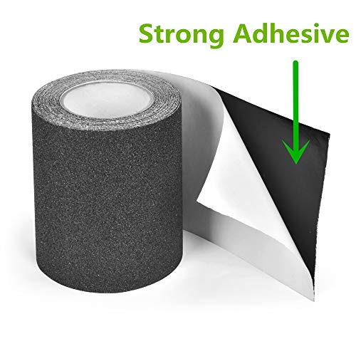 """Anti Slip Traction Tape, 6"""" × 30 Feet, Longer and Wider, 80 Grit, Best Grip and Friction, Safe, Tread Step, Strong Abrasive Adhesive for Stairs, Indoor, Outdoor, Black"""