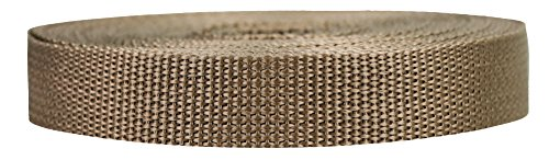 Strapworks Lightweight Polypropylene Webbing - Poly Strapping for Outdoor DIY Gear Repair, Pet Collars, Crafts – 3/4 Inch by 10, 25, or 50 Yards, Over 20 - Webbing Nylon Coyote