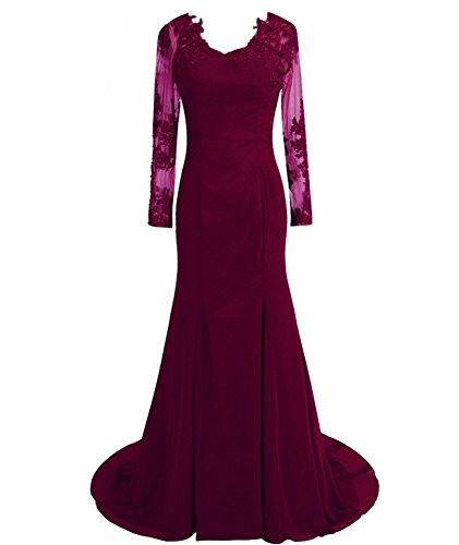 Women's Long Gowns Sleeves Prom Chiffon Burgundy Appliques Mermaid DreHouse Evening Dresses dOq6fd
