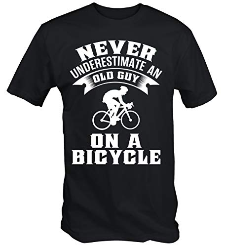 - 6TN Mens Never Underestimate an Old Guy On A Bicycle Funny Cycling T Shirt (Medium)