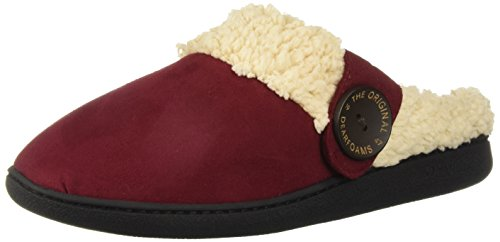 Dearfoams Women's Wide Width Microsuede Clog with Button Tab Slipper, Cabernet, MW Regular US ()