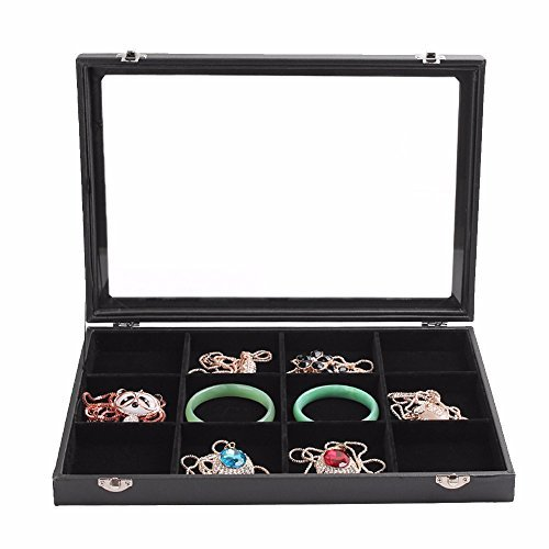 Soaptree 12 Grid Velvet Jewelry Case Jewelry Display Stackable Organizer Glass Top With Lock and Lid ,1 Piece (12 Grid Box Black) Lid Jewelry