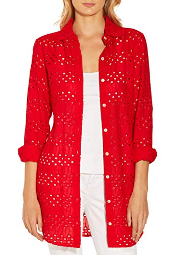 - Women's Eyelet Button-Up Long-Sleeve Woven Tunic Shirt Red Large