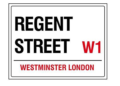 Shops Regent Street London (Regent street london england street road sign retro shabby chic vintage style acrylic fridge magnet or can be used a a plaque)