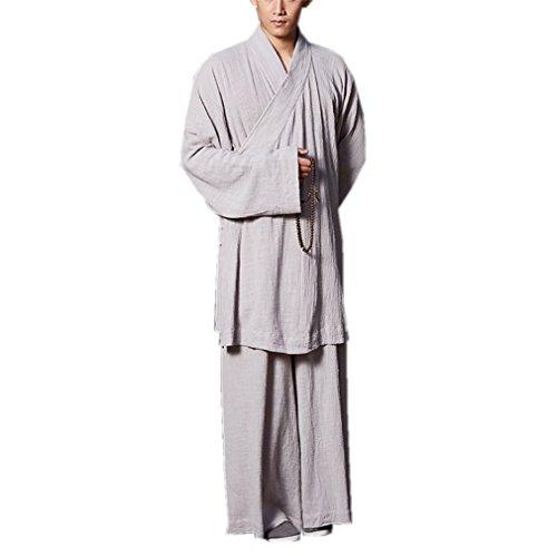 - ZanYing Zen Clothing Sets Monk Buddhist Outfit Long Shirt Wide Leg Pants (M, Grey)