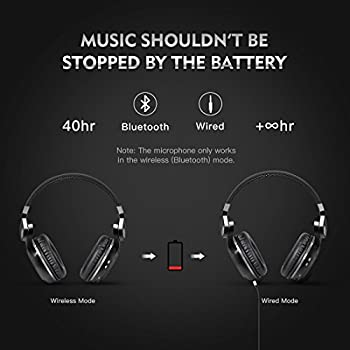Bluedio T2s Bluetooth Headphones On Ear With Mic, 57mm Driver Rotary Folding Wireless Headset, Wired & Wireless Headphones For Cell Phonetvpc, 40 Hours Play Time (Black) 2