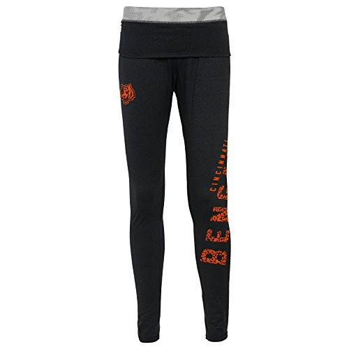 Cincinnati Bengals Heart - NFL Junior Girls Elastic Heart Legging, Cincinnati Bengals, Black, XL(15-17)