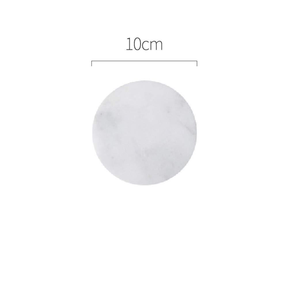 大理石コースター 不規則なダイヤモンド 断熱 ノンスリップ コーヒーカップマット ピュアストーン ラウンド ホワイト   B07RWBGBPJ
