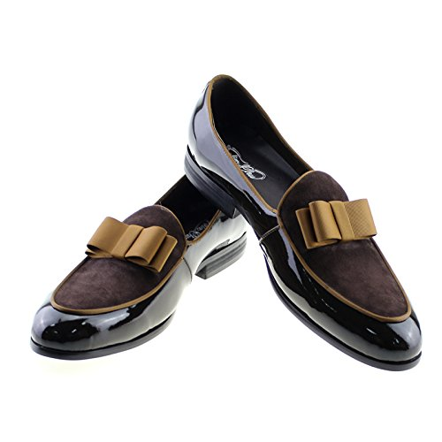 Felix Chu Men's Dress Shoes Patent Leather and Suede Short Tongue Shoes Men Business Shoes Brown brand new unisex cheap online free shipping low price YlekhL