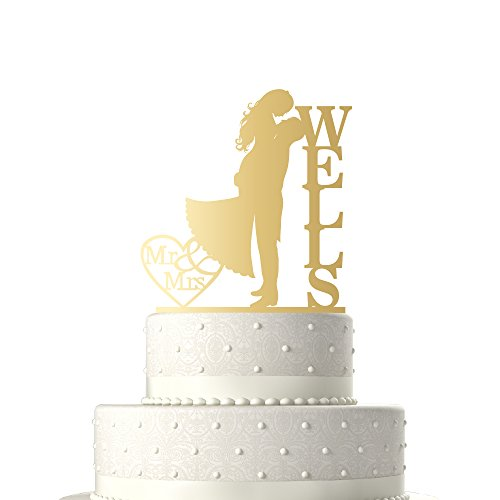 Sugar Yeti Made In USA Personalized Wedding Cake Topper Love Groom Kissing Bride #15 Gold Mirror