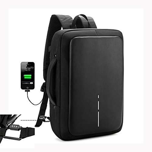 Zrui Slim Business Laptop Backpack for Men, Anti Theft Backpack, Waterproof Travel Backpack with USB Charging Port, Fits 15.6 Inch (Sharp Notebook Computers)
