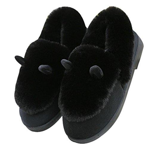 Pantofole Da Donna Foderate In Pelliccia Caldo Carino Scarpette Da Casa Scarpe Nere