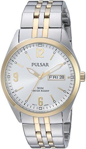 Pulsar Men's Quartz Stainless Steel Dress Watch, Color:Tw...