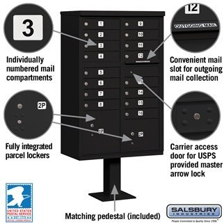 Salsbury Cluster Mailbox Unit+Pedestal. USPS Access, 16 A Size Doors in Black