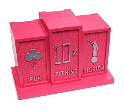 LDS Girls Pink Tithing Bank - 3 Slots: Fun, Tithing & Mission - Baptism Gift