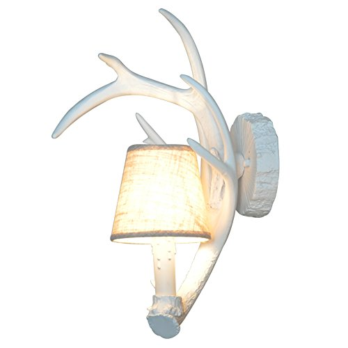 Shengdi Deer Horn E12 BUlb 1-Light Iron Resin Industrial Retro wall lamp Corridor lamp VillaDining roomVintage cellarTapas barSchoolhouse Lampshade White (Three Light Deer Antler)