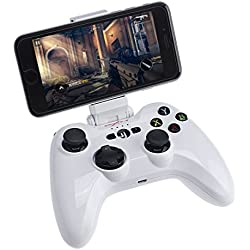 Megadream Apple MFi Certified Bluetooth Wireless Gaming Gamepad Controller for IOS Devices iPhone X 8 8Plus 7 7Plus 6S 6 5S, iPad Air 2, iPad Mini 4 3 iPad Pro, Apple TV with Phone Clamp Holder –White