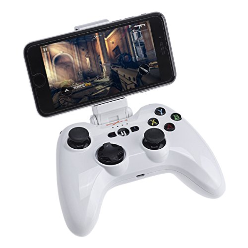 Megadream Apple MFi Certified Bluetooth Wireless Gaming Gamepad Controller for IOS Devices iPhone X 8 8Plus 7 7Plus 6S 6 5S, iPad Air 2, iPad Mini 4 3 iPad Pro, Apple TV with Phone Clamp Holder –White by Megadream
