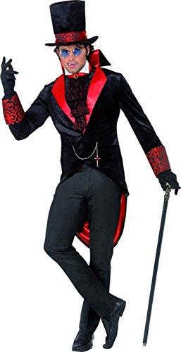 Smiffy's Men's Dracula Costume, Jacket, Hat and Cravat, Legends of Evil, Halloween, Size M, 31990