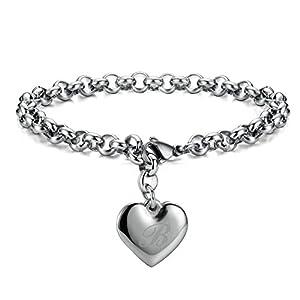Monily Initial Charm Bracelets Stainless Steel Heart 26 Letters Alphabet Bracelet for Women