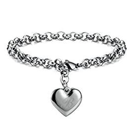 Monily Initial Charm Bracelets Stainless Steel Heart 26 Letters Alphabet Initial Bracelet for Women Jewelry