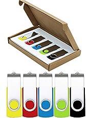 USB Stick Flash Drive 32GB 5 Pack USB 2.0 Thumb Drive Jump Drive Pen Drive Bulk Memory Sticks Zip Drives Swivel Design Yellow/Red/Blue/Green/Black (5 Pcs Mixed Color)