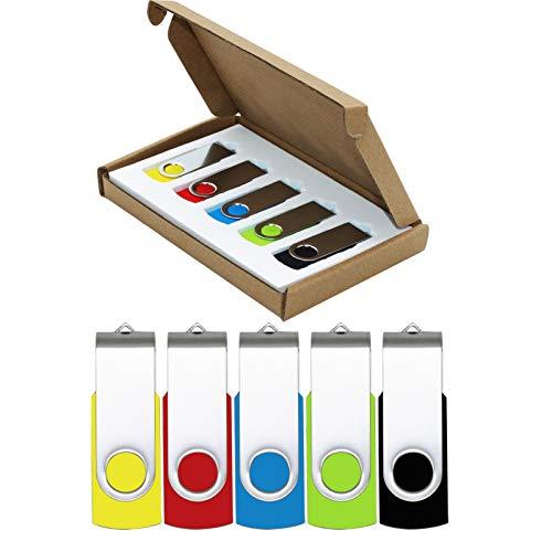 USB Flash Drive 32GB 5 Pack USB 2.0 Thumb Drive Jump Drive Pen Drive Bulk Memory Sticks Zip Drives Swivel Design Yellow…
