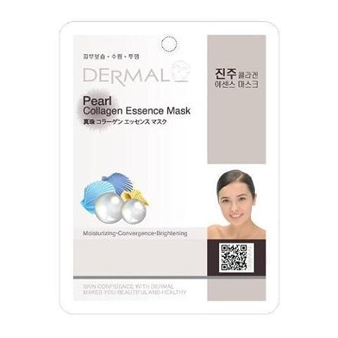 Dermal Korea Collagen Essence Full Face Facial Mask Sheet - Pearl (10 Pack) by Beautyspace - Face Sheet