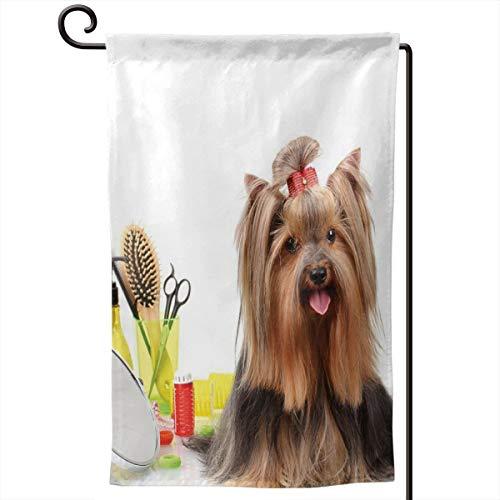 lsrIYzy Garden Flag,Yorkshire Terrier with Stylish Hairdressing Equipment Mirror Scissors,12.5x18.5 inch