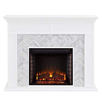Southern Enterprises Torlington Fireplace, White/Gray
